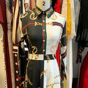 Chain Print Modest Shirt Dress